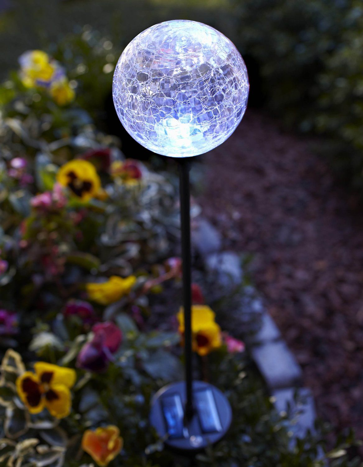 3 Pc Solar Led Color Changing Crackle Glass Globe 24 95