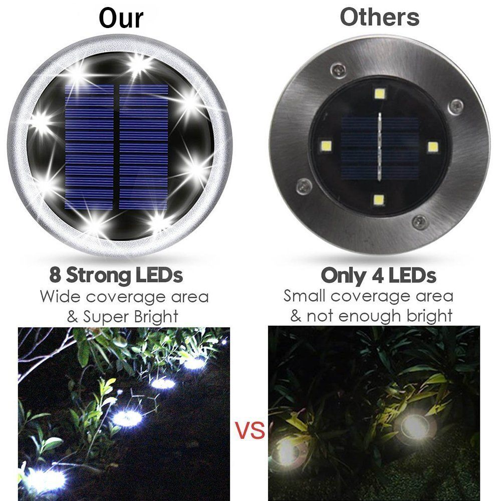 Disc Solar Powered Path Ground Lights 8 Ultra Bright Led